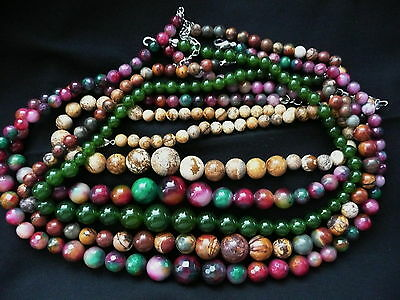 multi-coloured taiwan jade picture graduate round 6-14mm gemstone bead necklace