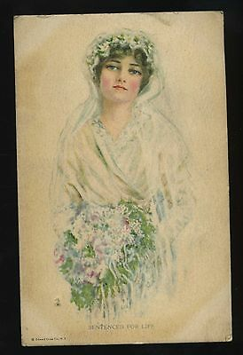 Sentenced For Life Young Girl in Wedding Dress Vintage Art Postcard 21