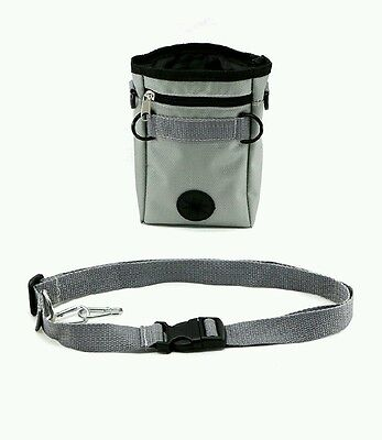 Dog Treat Bag with Adjustable Waist Belt and 2 Zippered Pockets for Training Toy