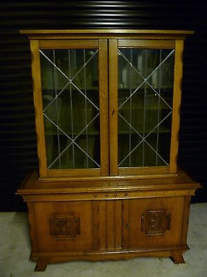 Antique Belgian Solid Oak Leaded Glass Bookcase/Dresser
