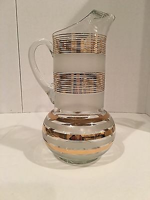 Vintage Mid Century Modern Gold Stripe and Frosted Bulbous Pitcher