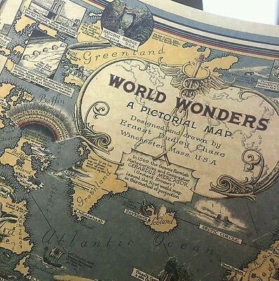 Vintage World Map Great Building Retro Maps