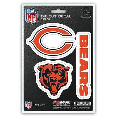 NFL  Chicago Bears Team Decal - Pack of 3