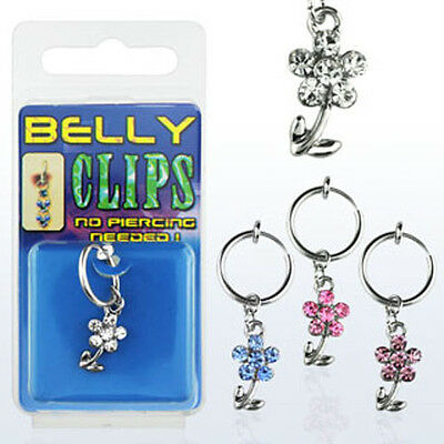 Fake Belly Button Clip On Jewelry No Piercing Dangling Crystal Acrylic Flowers