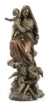 """Madonna And Child With Angels Statue, Cold-Cast Bronze, 12.75"""""""