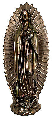 Our Lady Of Guadalupe Statue, Lightly Hand-Painted, Cold Cast Bronze