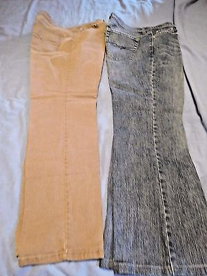 Lot Of Two (2) Pair Womens Size 10 & 10P Jeans Blue West Side & Tan Faded Glory
