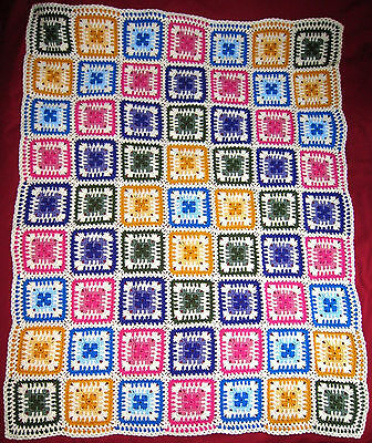 HANDMADE Crochet AFGHAN Knit THROW vtg GRANNY SQUARE Quilt LAP Bed COUCH Blanket