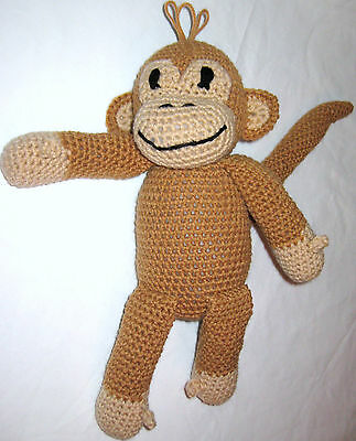 HANDMADE Knit CROCHETED of MONKEY Stuffed ANIMAL a PLUSH DOLL Toy CURIOUS GEORGE
