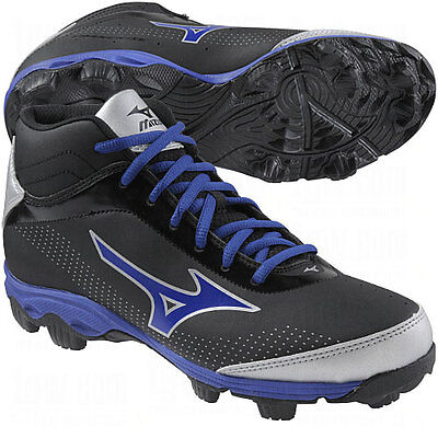 Mizuno Kids Youth 9-Spike Franchise 7 Mid Molded Baseball Cleats Black/Royal