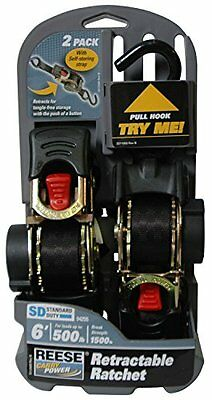 "2 Pack ~ Reese Ratchet Straps 6 foot ~ Tie Downs Black 1"" Wide ~ Retractable"