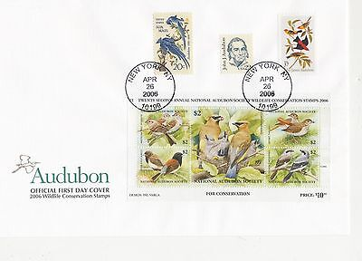 National Audubon Society Official FDC 2006 Wildlife Conservation Stamp block