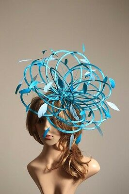 New Teal Blue & Aqua Fascinator Hat/Change to any satin/highlight feather colour