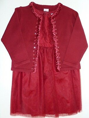 3T EUC Gymboree Girls Crimson Red Holiday Party Silk Dress & Sweater Set Lot