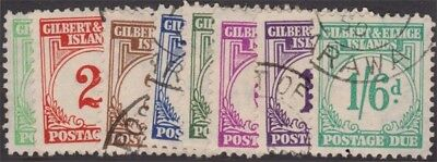 GILBERT AND ELLICE KGVI 1940 Postage Dues Set Scott J1-8 SGD1-8 Used cv £275