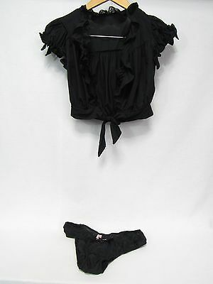 Agent Provocateur Aisling Black Tie Top Small & Brief Small zs