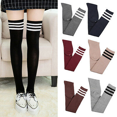 Girls Student Long Socks Stripe Over Knee Thigh High Cotton Stockings Pantyhose