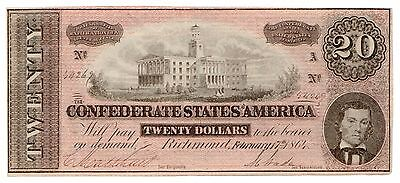 Type 67 1864 $20 CSA Confederate States of America Large Note [2972.03]