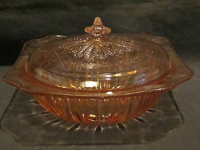 Jeannette Glass Adam Pink Vegetable Bowl with cover