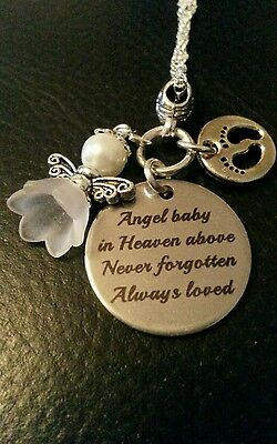 Baby Memorial charm 'Angel baby in heaven above Never forgotten always loved '