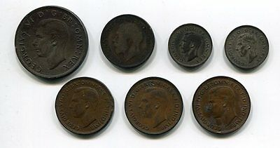 1930's/40's Lot of Great Britain Coins Pennys to Half-Crown some silver