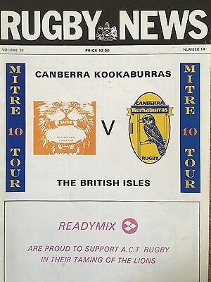 1989 British Lions v ACT Canberra Kookaburras, Official Tour Rugby Programme