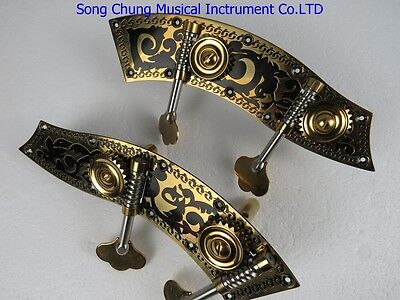 High Grade double bass black flower machine head pegs 4/4&3/4,unite style