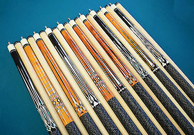 "SET OF 10 POOL CUES New 58"" Canadian Maple Billiard Pool Cue Stick #6 PLUS SHIP"