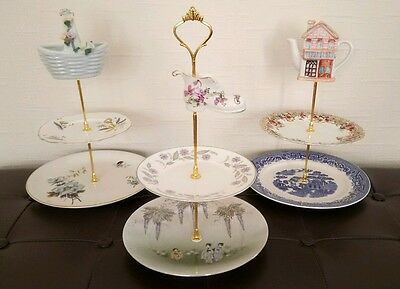 Three (3) x mad hatter style three tier vintage china cake stands afternoon tea