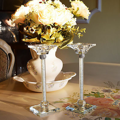 Pair of Crystal Cut Candle Stick Holder Swarovski Elements