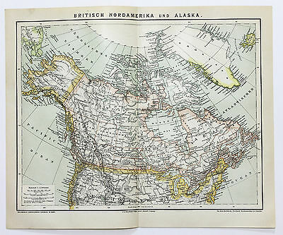 1882 British North America Canada Map Railroads Original German Brockhaus