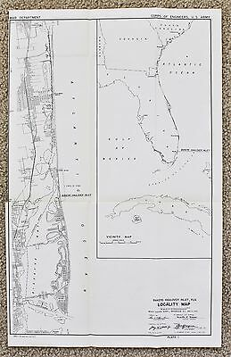 1945 Miami Beach Biscayne Bay Hollywood Florida Map Baker's Inlet Railroads