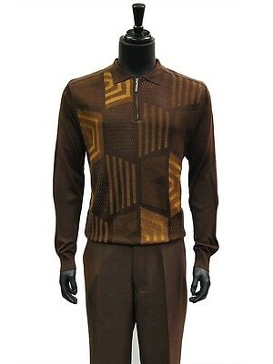 Stacy Adams Mens Brown Cognac Half Zip Mock Neck Knit Top 2 Piece Walking Suit