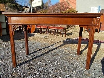 Antique Handmade Chippendale Mahogany Console Table with Hand Carved Fretwork