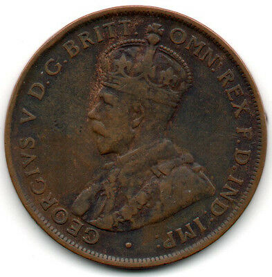 Australia Penny KM# 23 1927 Monarch Royal King George V Australian 1p Coin