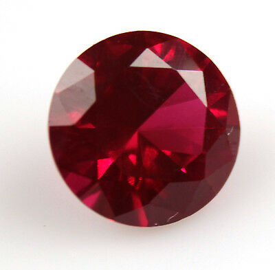4.365 ct Created  DEEP RED RUBY ROUND 10 X 10 x 6 mm