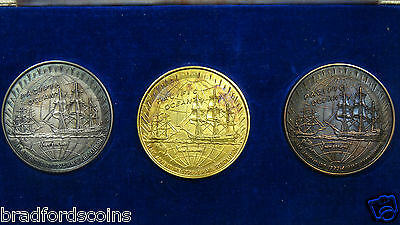 Captain James Cook's 2nd Voyage Gold, Silver and Bronze Medal Set