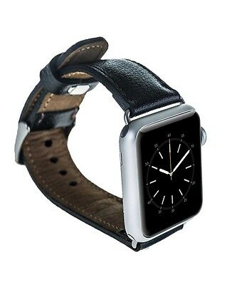 Burkley Case Leather Genuine Padded Strap for Apple Watch 42mm Rolex Black