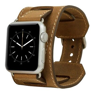 Burkley Case Leather Cuff Strap for Apple Watch 42mm Antique Camel