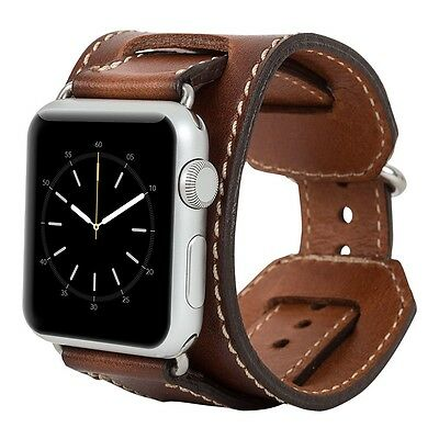 Burkley Case Leather Cuff Strap for Apple Watch 38mm Burnished Tan