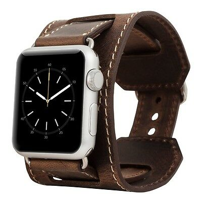 Burkley Case Leather Cuff Strap for Apple Watch 38mm Antique Coffee