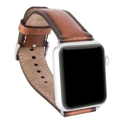 Burkley Case Leather Genuine Padded Strap for Apple Watch 42mm Burnished Tan