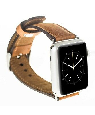 Burkley Case Leather Genuine Padded Strap for Apple Watch 42mm Antique Camel