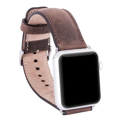 Burkley Case Genuine Padded Leather Strap for Apple Watch 42mm Antique Coffee