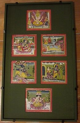 Antique 6 Indian Paintings Miniatures