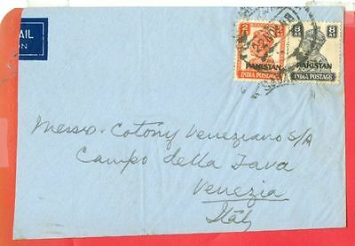 British India KGVI 8a + 2a Overprint Pakistan used on cover to Italy 1948