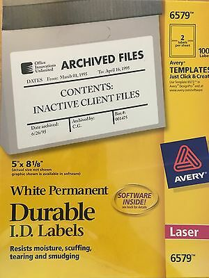 """Avery - 6579 - Durable ID Labels - 5"""" x 5-1/8"""" - 100 Full Sheet Labels/Box"""