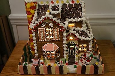 Large Lighted Gingerbread Male Female Gumdrops Frosting Fenced Decorative House
