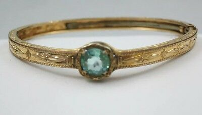 Vintage Gold-Filled Child's Hinged Bracelet with Blue Glass Stone