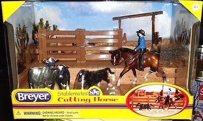 Breyer Stablemates Cutting Horse With Rider Saddle Bridle And Calf Brand New